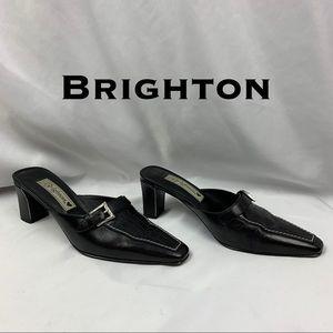 Brighton York Calf Leather w/Croc Accent Mules